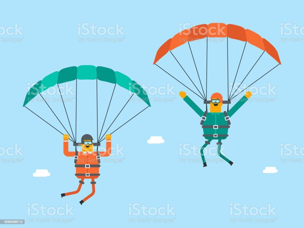 Hombres Blancos Caucásicos Volar Con Un Paracaídas - Arte vectorial ...