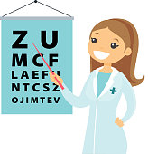 Caucasian white ophthalmologist with eye chart