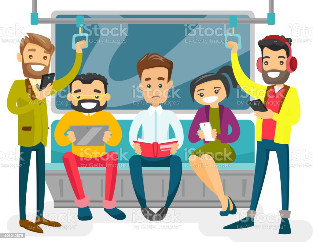 Caucasian white people traveling by metro vector art illustration