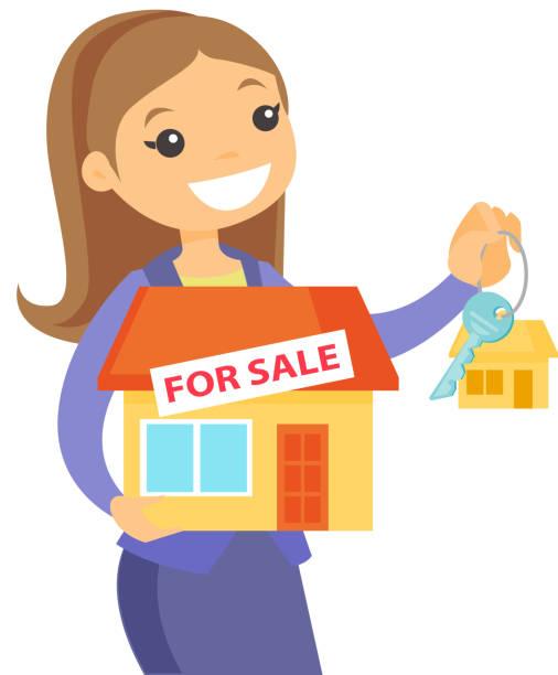 illustrations, cliparts, dessins animés et icônes de caucasien blanc agence immobilière enfoncée - nouveau foyer