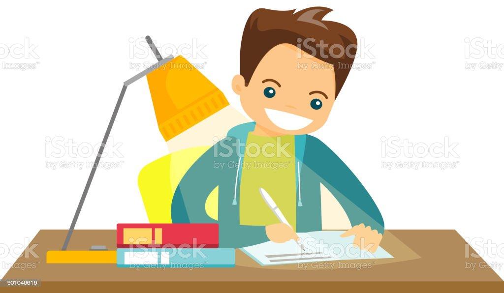 Caucasian white schoolboy doing homework vector art illustration
