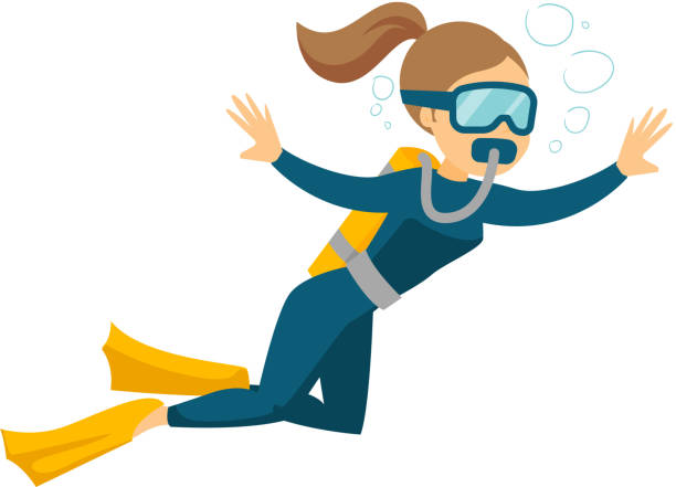 Caucasian white scuba diver enjoying the dive Young caucasian white woman in diving suit and fins swimming underwater with scuba. Woman enjoying the dive. Vector cartoon illustration isolated on white background. Horizontal layout. diving into water stock illustrations