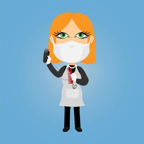 kaukasische weiß gehäutet blonde frau grüne augen weibliche dame friseur friseur mit virus maske weiße handschuhe elektrische rasierer schere kommen schürze - friseur lockdown stock-grafiken, -clipart, -cartoons und -symbole