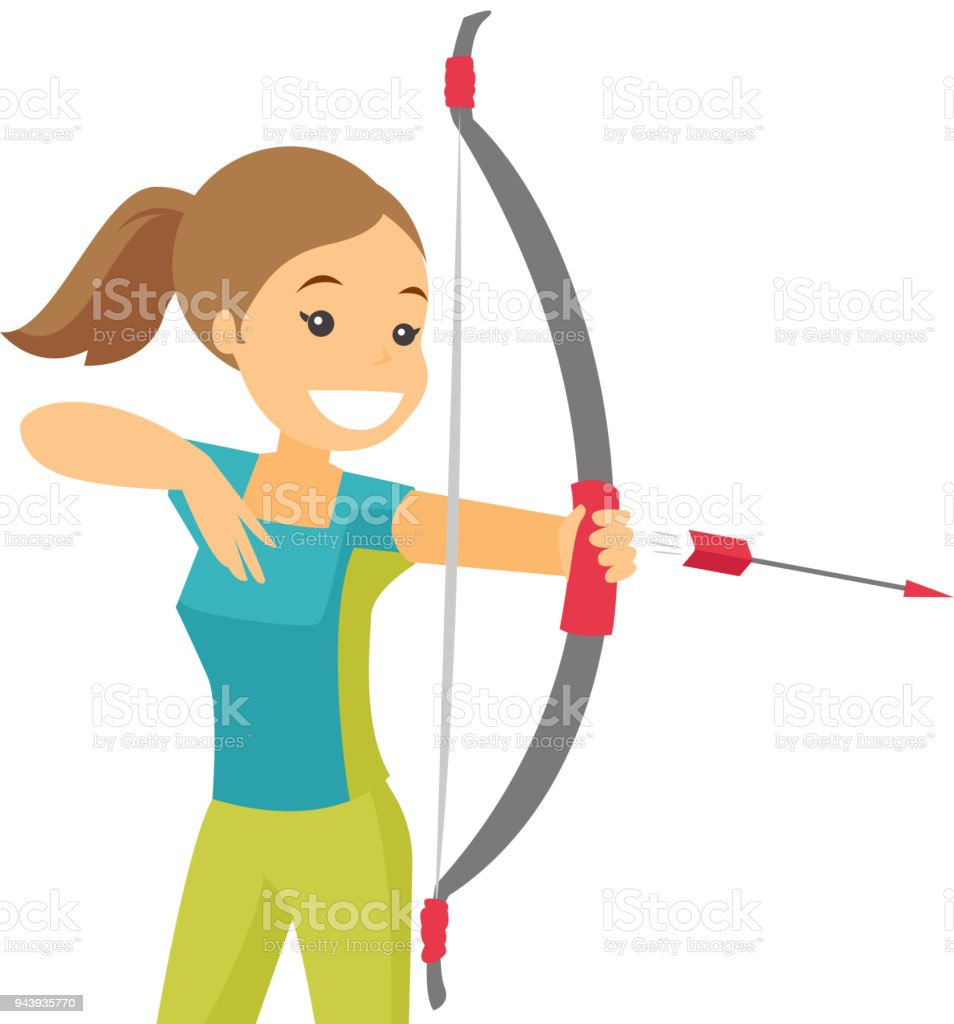 Caucasian white sportswoman holding bow and arrow vector art illustration