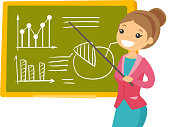 Young caucasian white teacher pointing at the board with a pointer. Teacher standing next to the blackboard with charts in the classroom. Vector cartoon illustration isolated on white background.