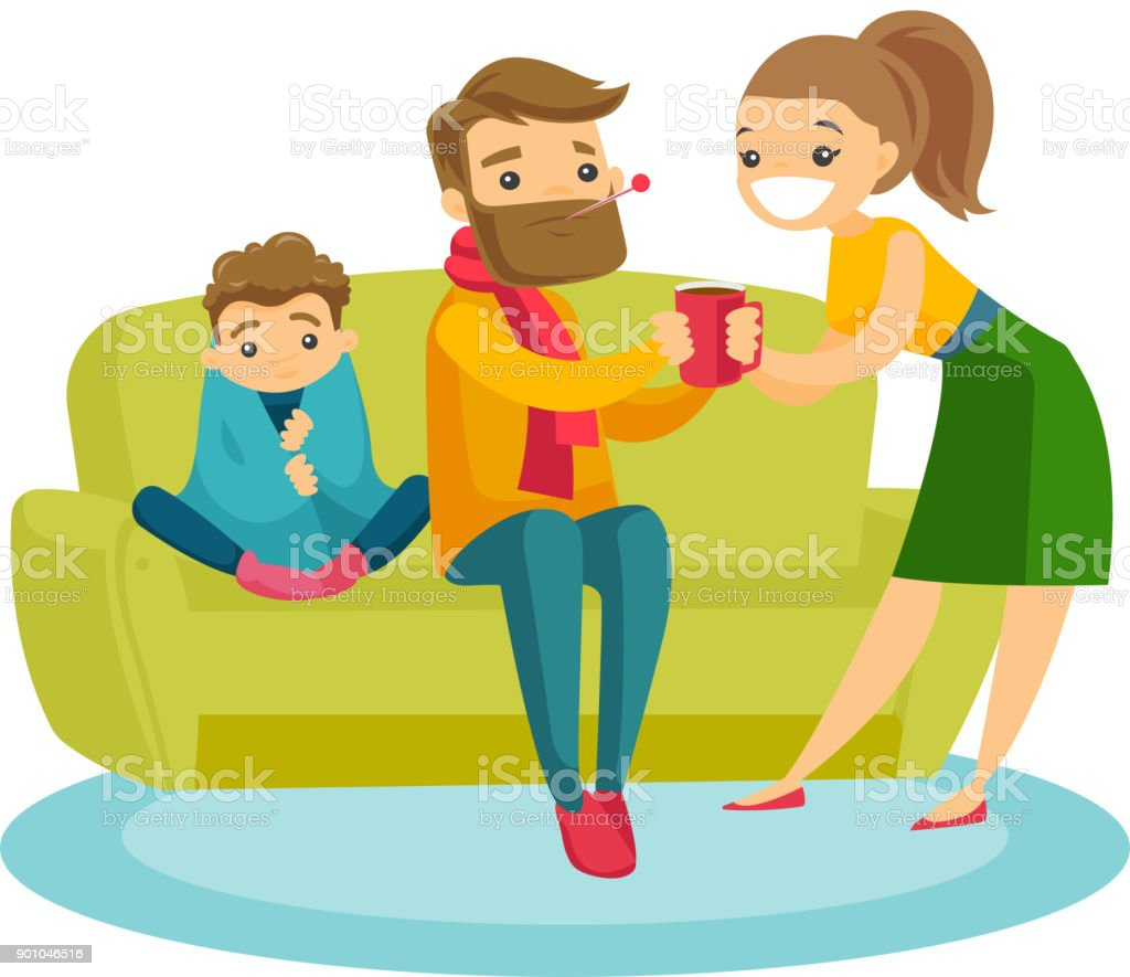 Caucasian white woman curing sick son and husband royalty-free caucasian white woman curing sick son and husband stock vector art & more images of adult