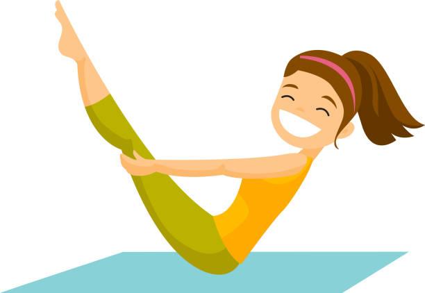 bildbanksillustrationer, clip art samt tecknat material och ikoner med kaukasiska vit kvinna gör fitnessövningar - gym skratt