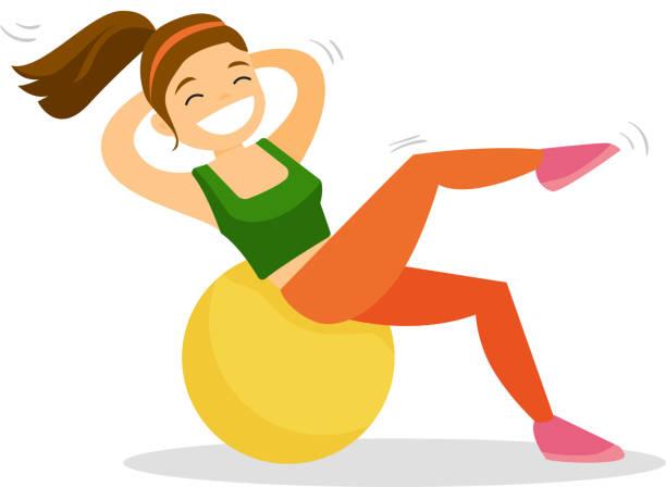 bildbanksillustrationer, clip art samt tecknat material och ikoner med kaukasiska vit kvinna tränar med fitball - gym skratt