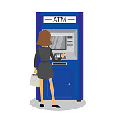 Caucasian woman and ATM bank terminal,human back view,isolated on white background,flat vector illustration
