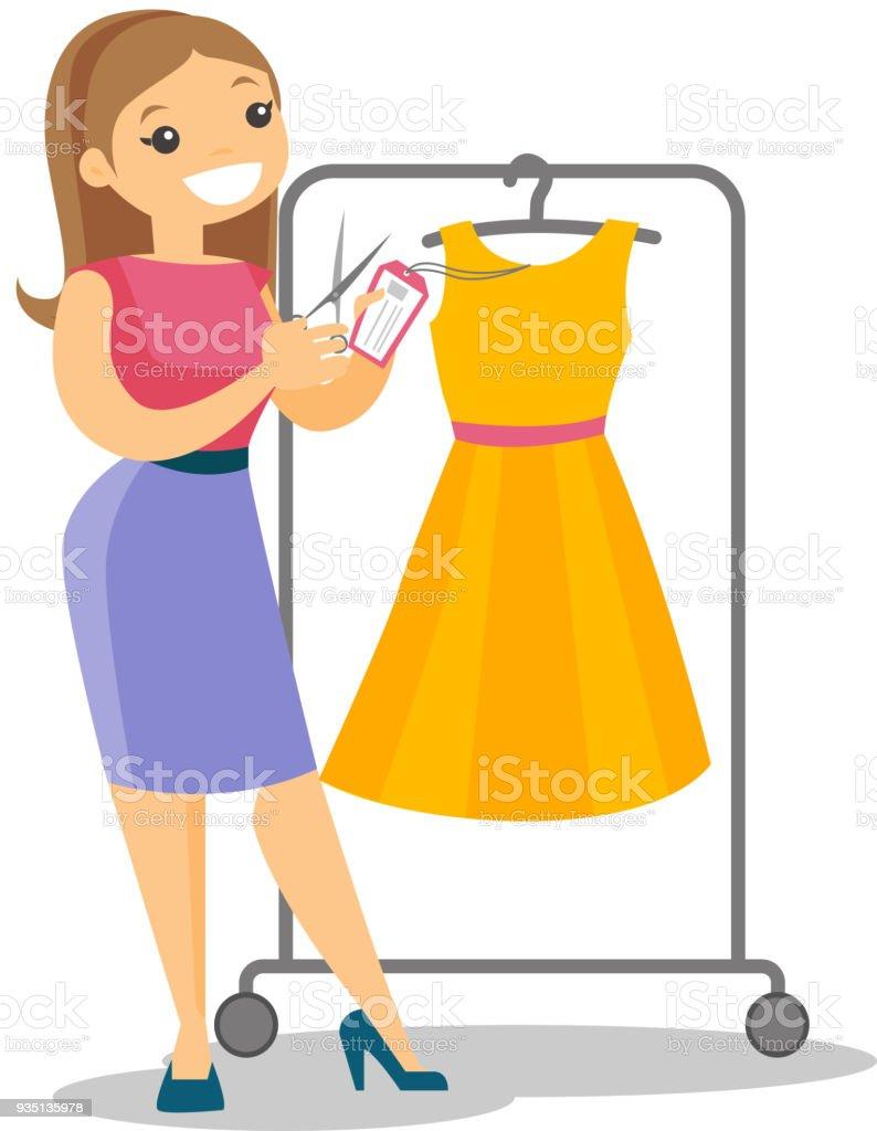 Kaukasische Frau schneiden Preisschild neues Kleid – Vektorgrafik