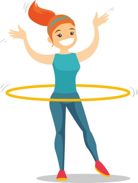 bildbanksillustrationer, clip art samt tecknat material och ikoner med kaukasiska kvinna gör övningar med rockring - gym skratt