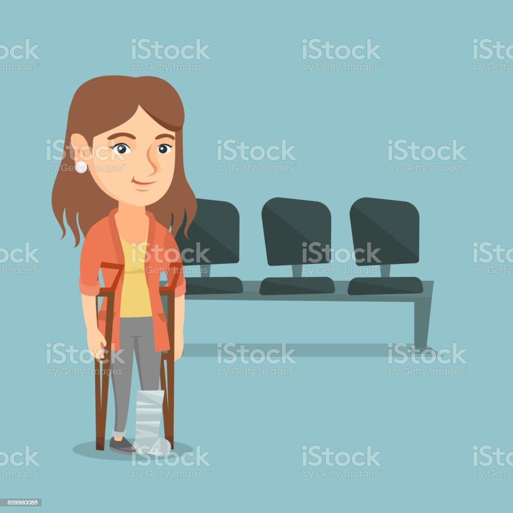 Caucasian woman with broken leg and crutches vector art illustration