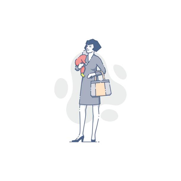 Caucasian woman with sleeping baby on her hand vector art illustration