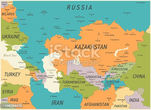 istock Caucasus and Central Asia Map. Vector Illustration with Kazakhstan, Georgia, Turkey and Russia Geographical borders 1256294470