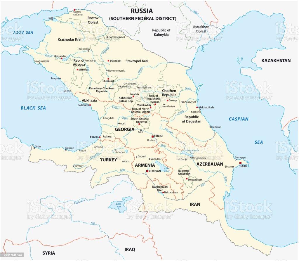 caucasus map vector art illustration