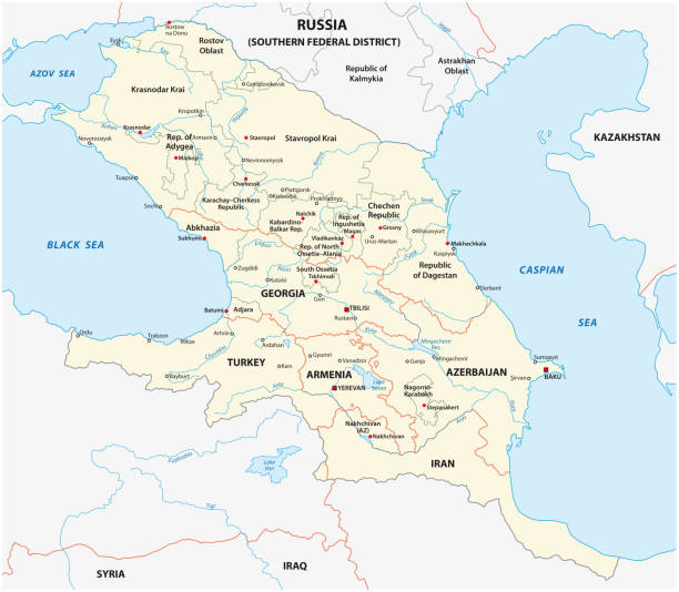caucasus map caucasus vector map azerbaijan stock illustrations