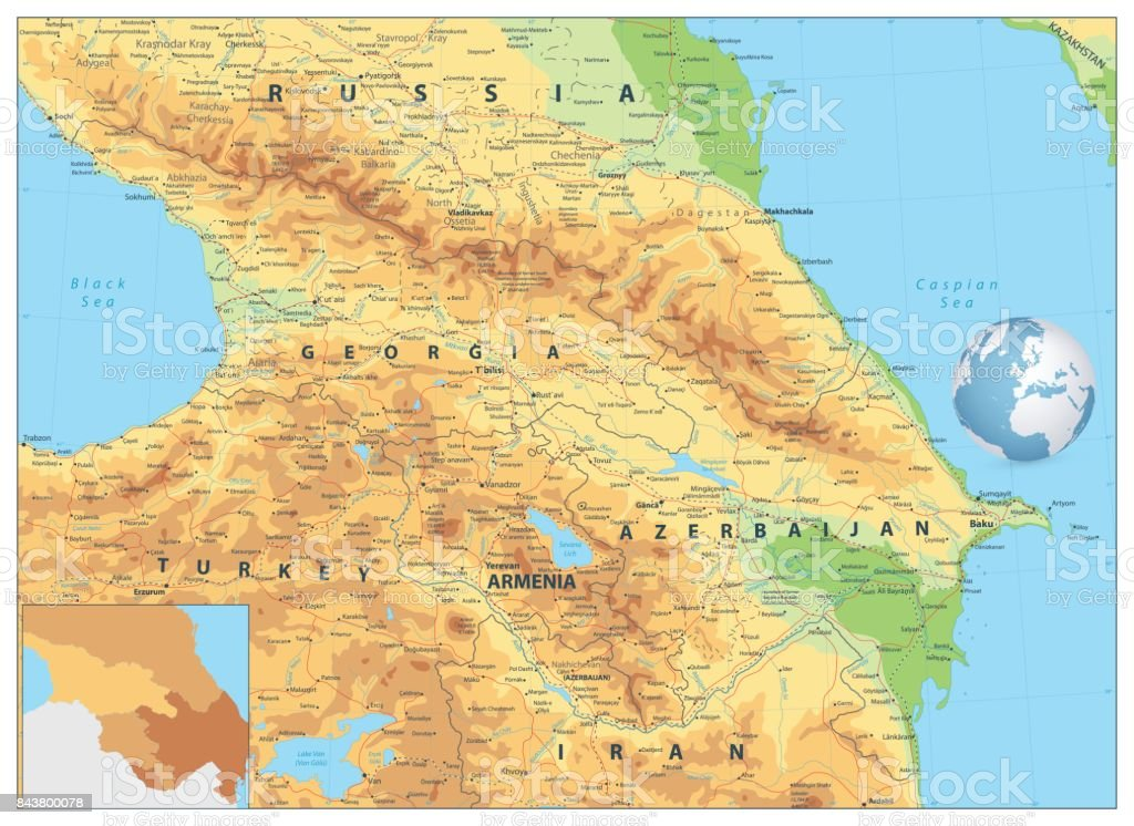 Caucasus Physical Map vector art illustration
