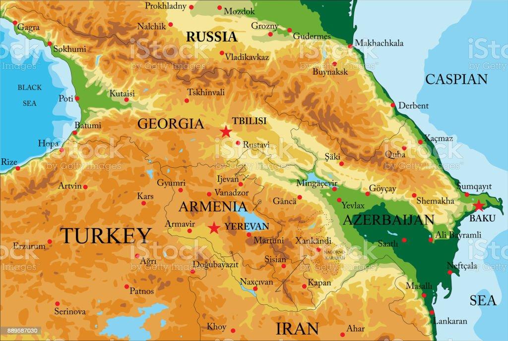 Caucasus Physical Map Stock Vector Art & More Images of Azerbaijan ...