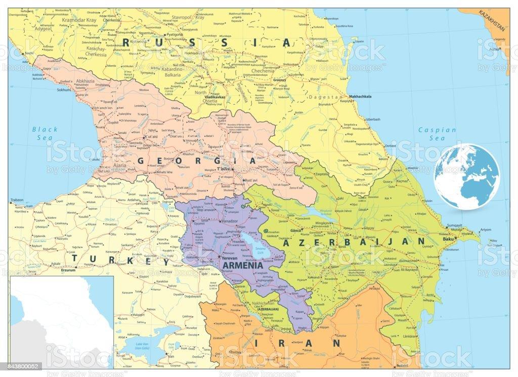 Caucasus Political Map vector art illustration