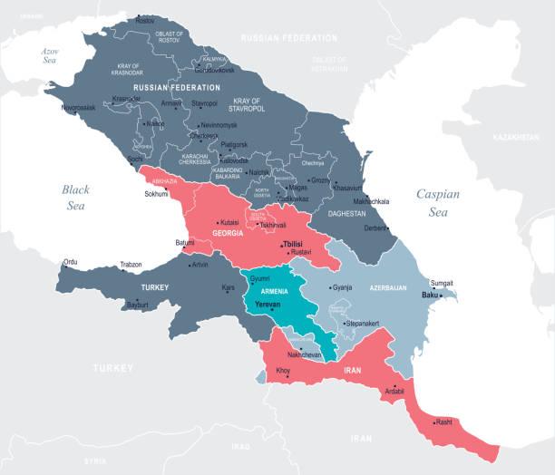 Caucasus Region map - Blue Spot - curves 10 Caucasus Region Map - Detailed Vector Illustration azerbaijan stock illustrations