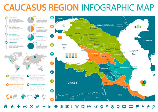 Caucasus Region Map - Info Graphic Vector Illustration Caucasus Region Map - Detailed Info Graphic Vector Illustration armenia country stock illustrations