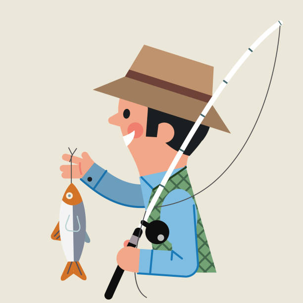 caught a fish - russelltatedotcom stock illustrations