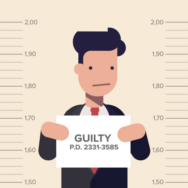 caught guilty businessman or manager with id signs on his hand. concept dishonest business. flat vector illustration in cartoon style. - wine stock illustrations