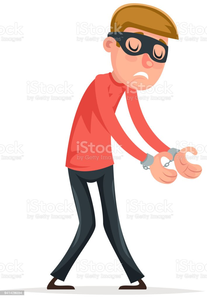 b49f4c81f06 Caught handcuffs burglar robber thief scared guy character isolated icon  cartoon design vector illustration - Illustration .