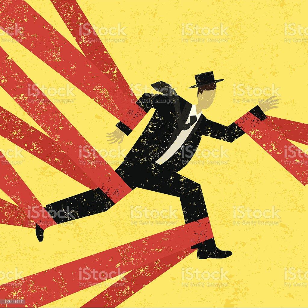caught in red tape vector art illustration