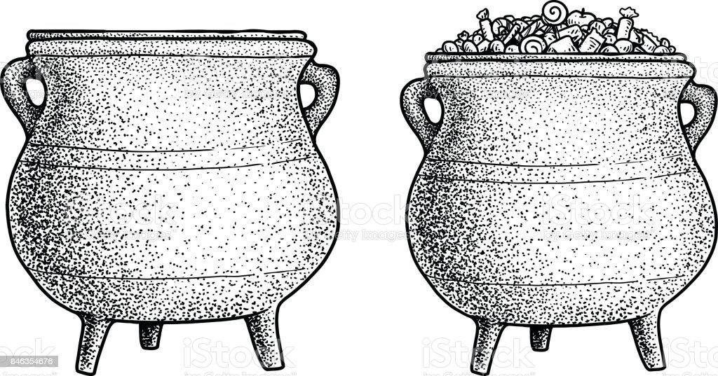 Cauldron illustration, drawing, engraving, ink, line art, vector vector art illustration