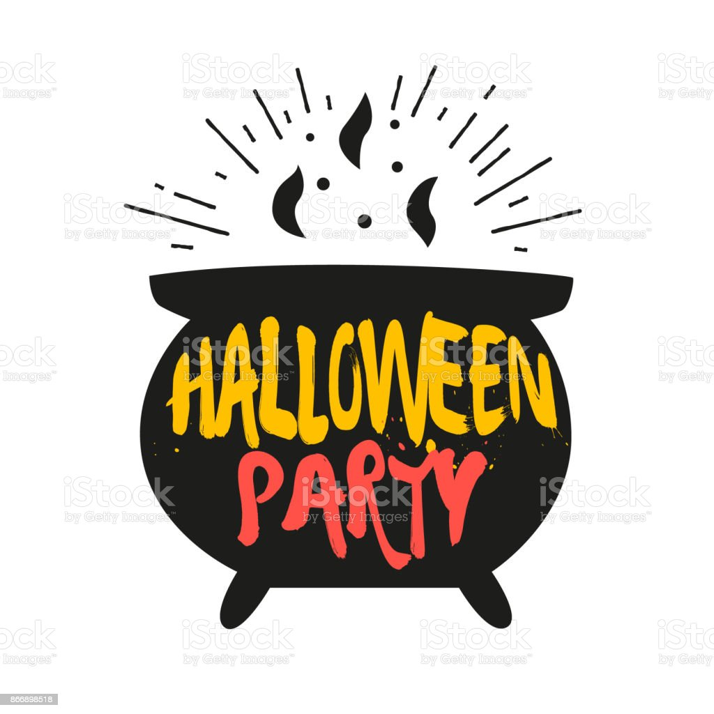 Cauldron with color lettering text Halloween Party. Vector color sticker. vector art illustration