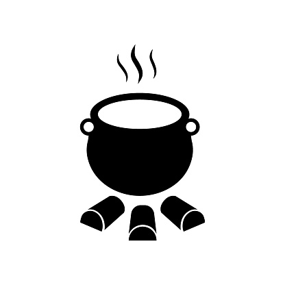 Cauldron with hot potion vector icon isolated on white background