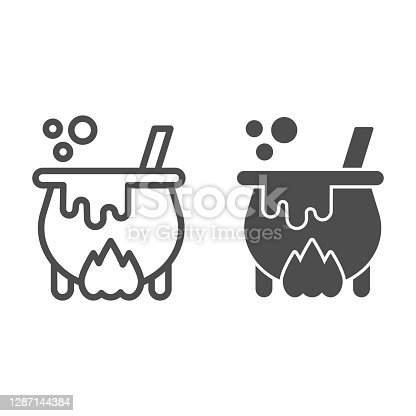istock Cauldron with magic potion on fire line and solid icon, halloween concept, witch pot of boiling potion sign on white background, bowler with spoon icon in outline style. Vector graphics. 1287144384