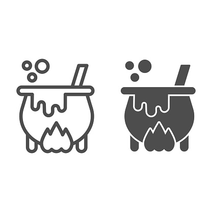 Cauldron with magic potion on fire line and solid icon, halloween concept, witch pot of boiling potion sign on white background, bowler with spoon icon in outline style. Vector graphics.