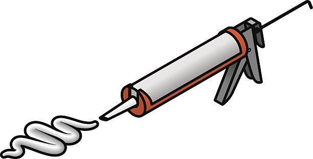 illustrazioni stock, clip art, cartoni animati e icone di tendenza di il materiale sigillante gun - silicone