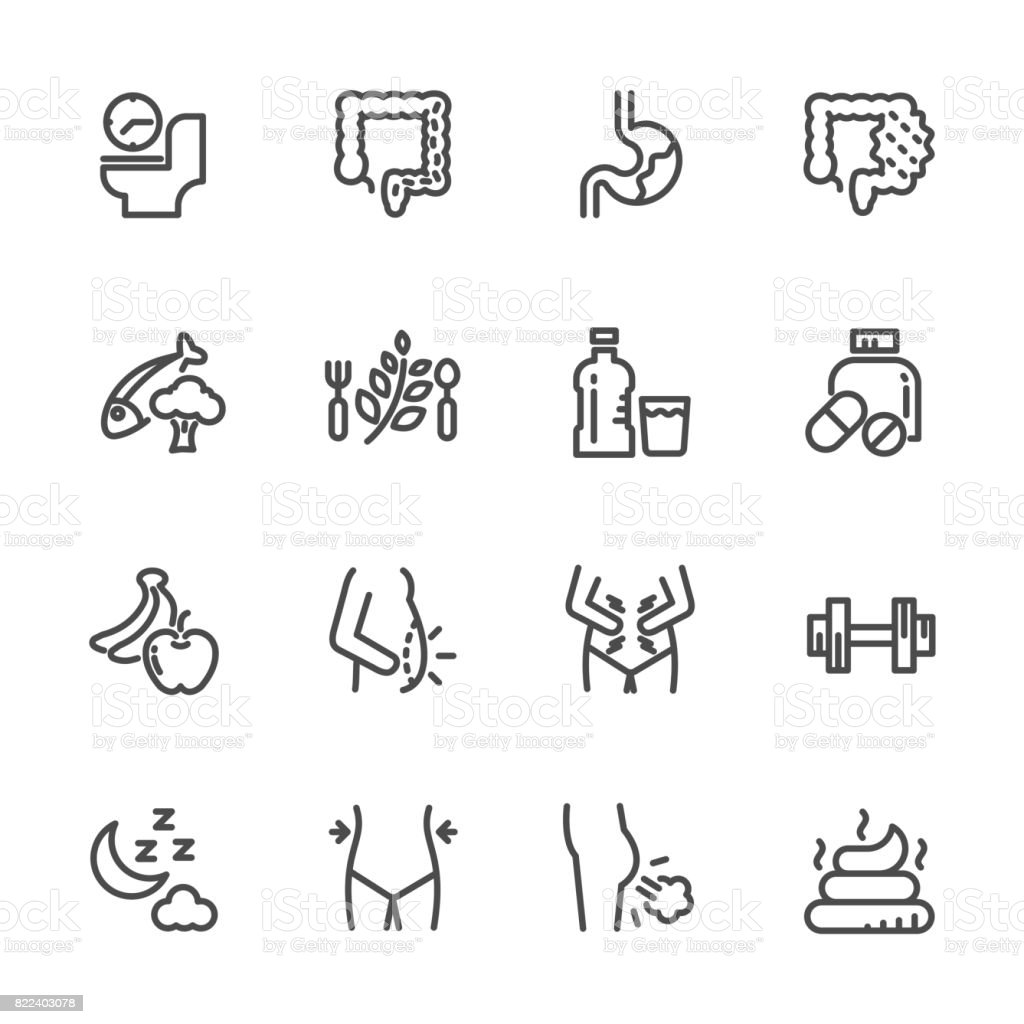 Cause, effect, and prevention of constipation or digestive system. Vector line icons vector art illustration