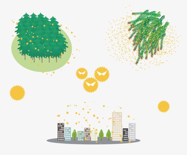 花粉症、花粉が散る町の原因 - 花粉点のイラスト素材/クリップアート素材/マンガ素材/アイコン素材