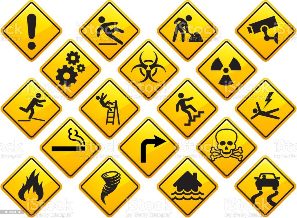 Vorsicht und Aufmerksamkeit Zeichen-Set – Vektorgrafik