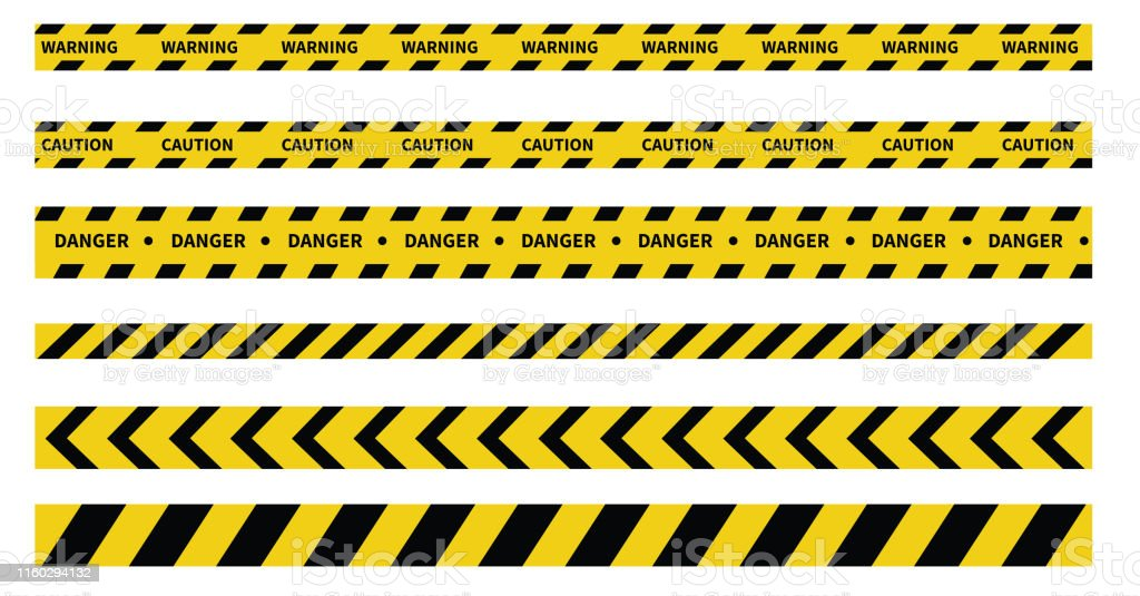 Caution and danger tapes. Warning tape. Black and yellow line striped. Vector illustration - Royalty-free Acessibilidade arte vetorial