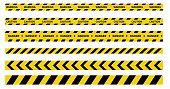 Caution and danger tapes. Warning tape. Black and yellow line striped. Vector illustration