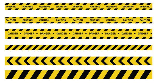 주의 및 위험 테이프. 경고 테이프. 줄무늬가 있는 검은색과 노란색 선. 벡터 일러스트레이션 - 노랑 stock illustrations