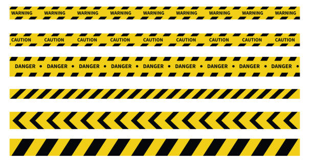 ilustraciones, imágenes clip art, dibujos animados e iconos de stock de cintas de precaución y peligro. cinta de advertencia. línea negra y amarilla rayada. ilustración vectorial - tape
