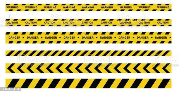 Caution And Danger Tapes Warning Tape Black And Yellow Line Striped Vector Illustration - Arte vetorial de stock e mais imagens de Acessibilidade