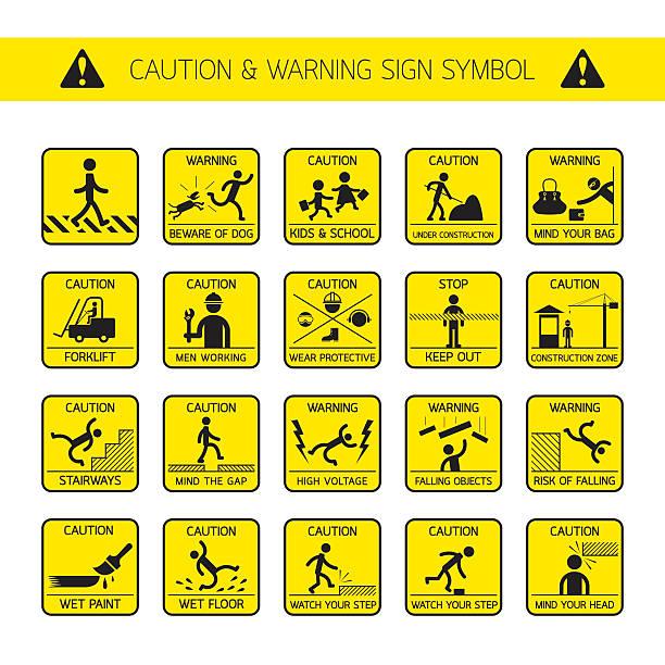 vorsicht und warnzeichen in öffentlichen und bau zone - arbeitshunde stock-grafiken, -clipart, -cartoons und -symbole