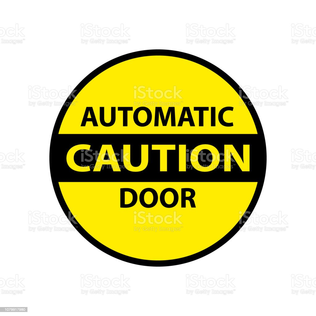 caution automatic door isolated sticker royalty-free caution automatic door isolated sticker stock illustration - download image now