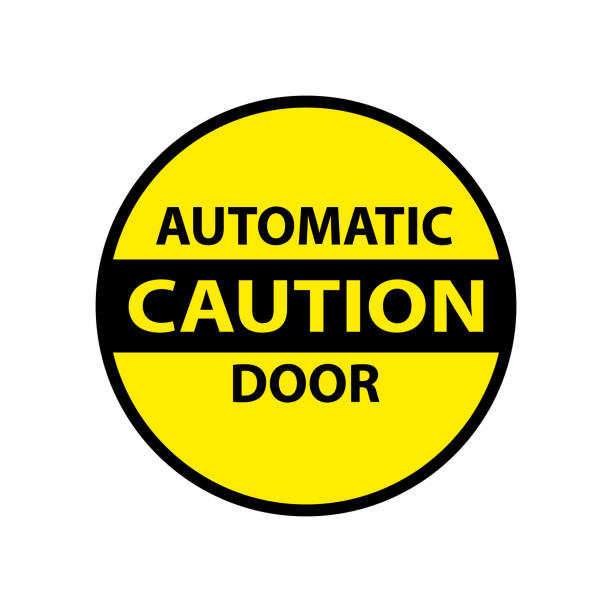 caution automatic door isolated sticker caution automatic door attention isolated sticker door stock illustrations