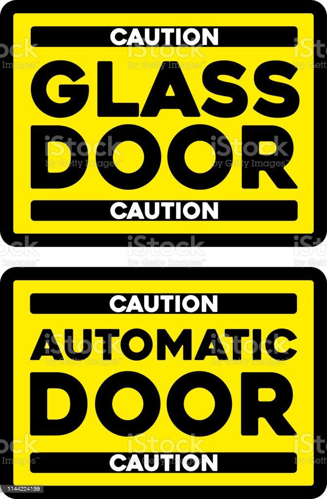 Automatische Glazen Deuren.Let Op Automatische Glazen Deur Sticker Geisoleerd Stockvectorkunst