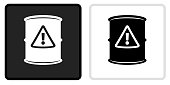 Caution Barrel Icon on  Black Button with White Rollover. This vector icon has two  variations. The first one on the left is dark gray with a black border and the second button on the right is white with a light gray border. The buttons are identical in size and will work perfectly as a roll-over combination.