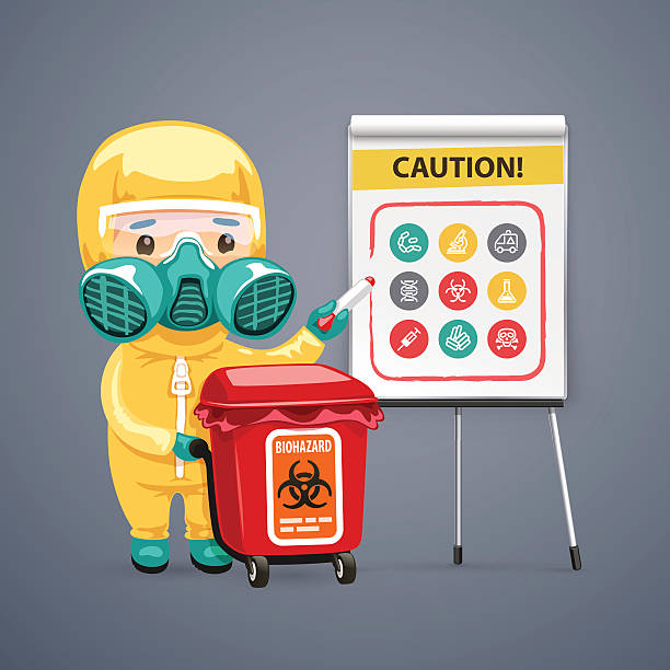Caution Biohazard Poster with Doctor and Flipchart Caution Biohazard Poster with Doctor and Flipchart. Clipping paths included in JPG file. biohazardous substance stock illustrations