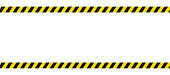 istock Caution border with diagonal stripes in black and yellow. Attention ribbon frame template. Danger crime tape mockup. Restricted zone. Do not cross sign. Forbidden frame with stripes. Vector EPS 10. 1257087367